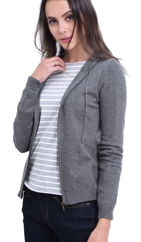 William De Faye Hooded Zip-up Cardigan in Grey