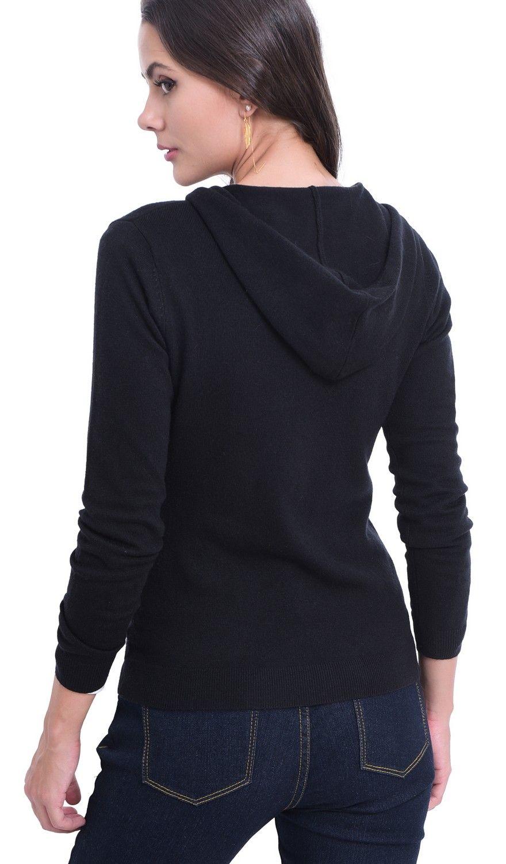 William De Faye Hooded Zip-up Cardigan in Black