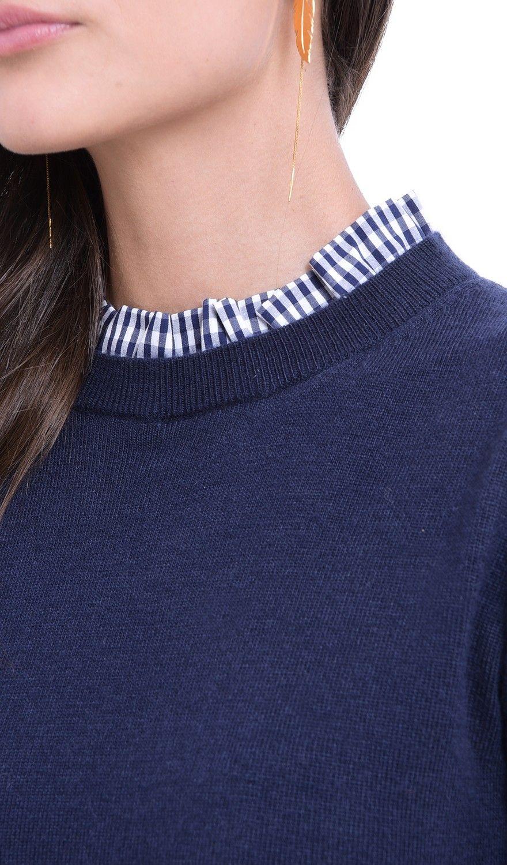 William De Faye High Neck Sweater in Navy