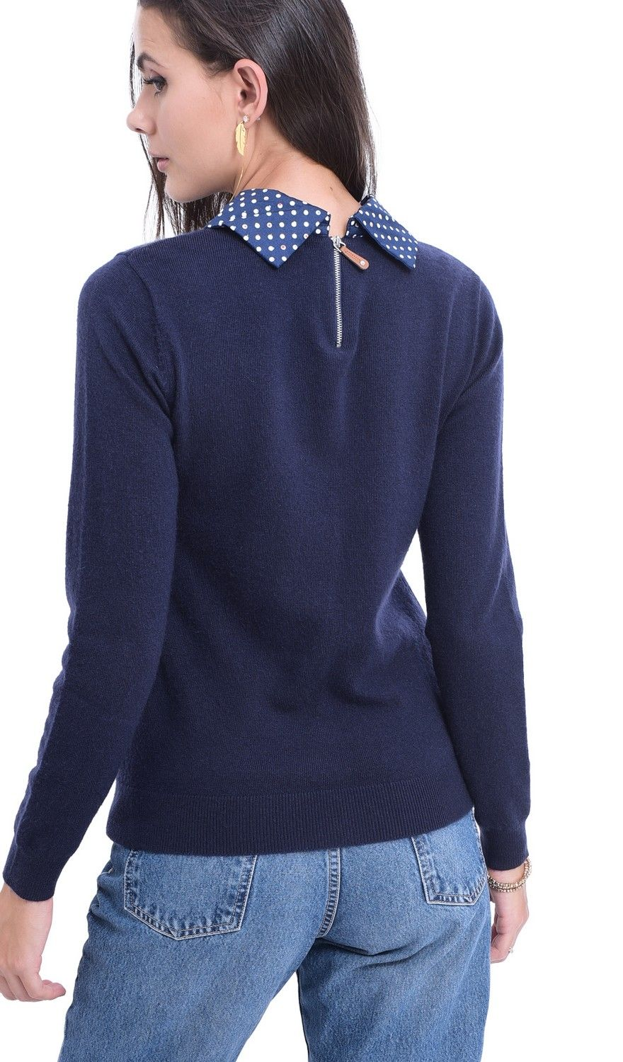 William De Faye Polka Dot Collar Sweater in Navy