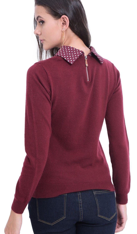 William De Faye Polka Dot Collar Sweater in Maroon