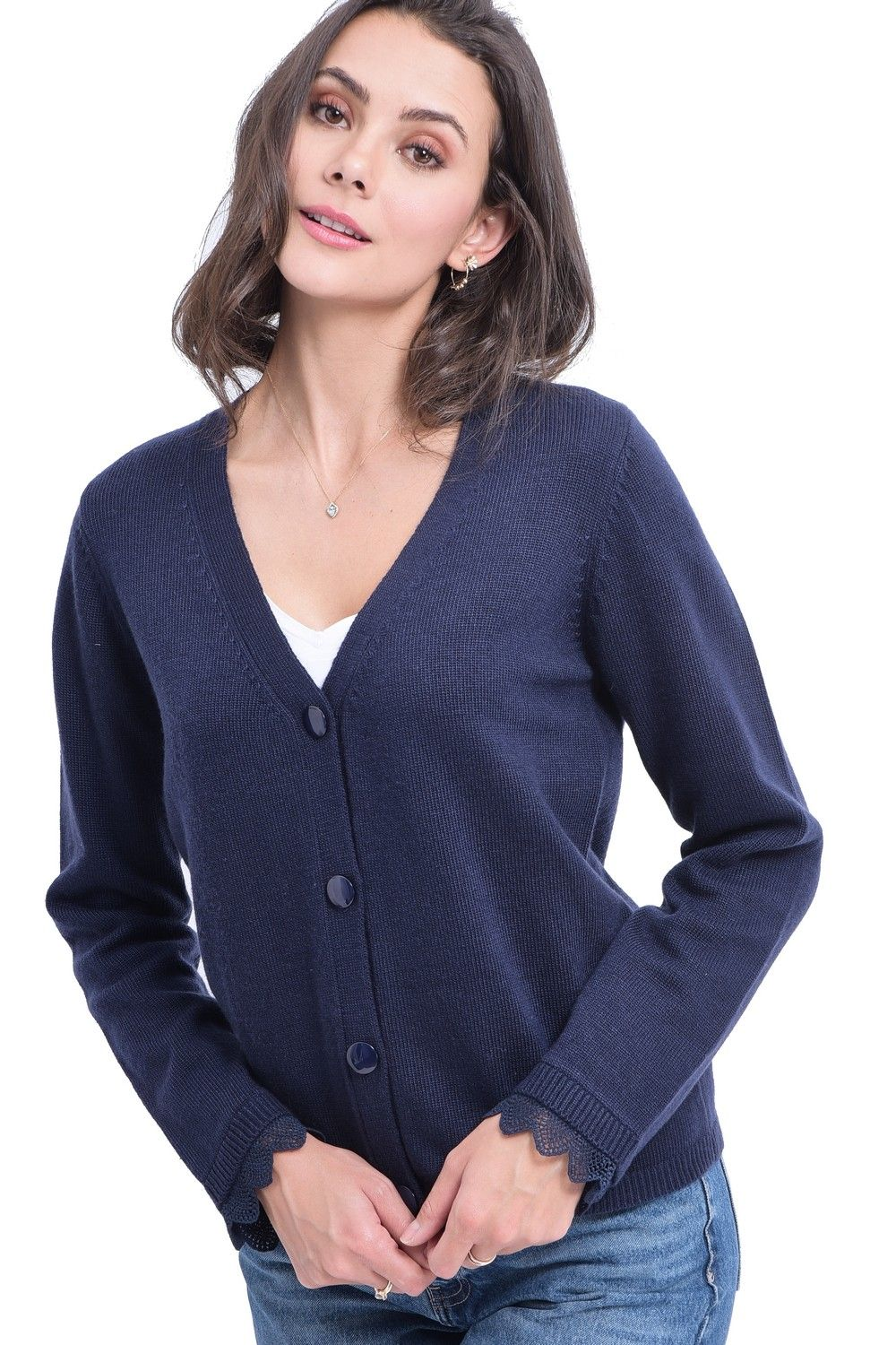William De Faye V-neck Cardigan with Lace Sleeve Detail in Navy