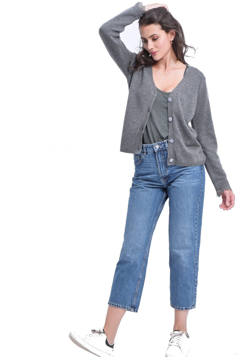 William De Faye V-neck Cardigan with Lace Sleeve Detail in Grey