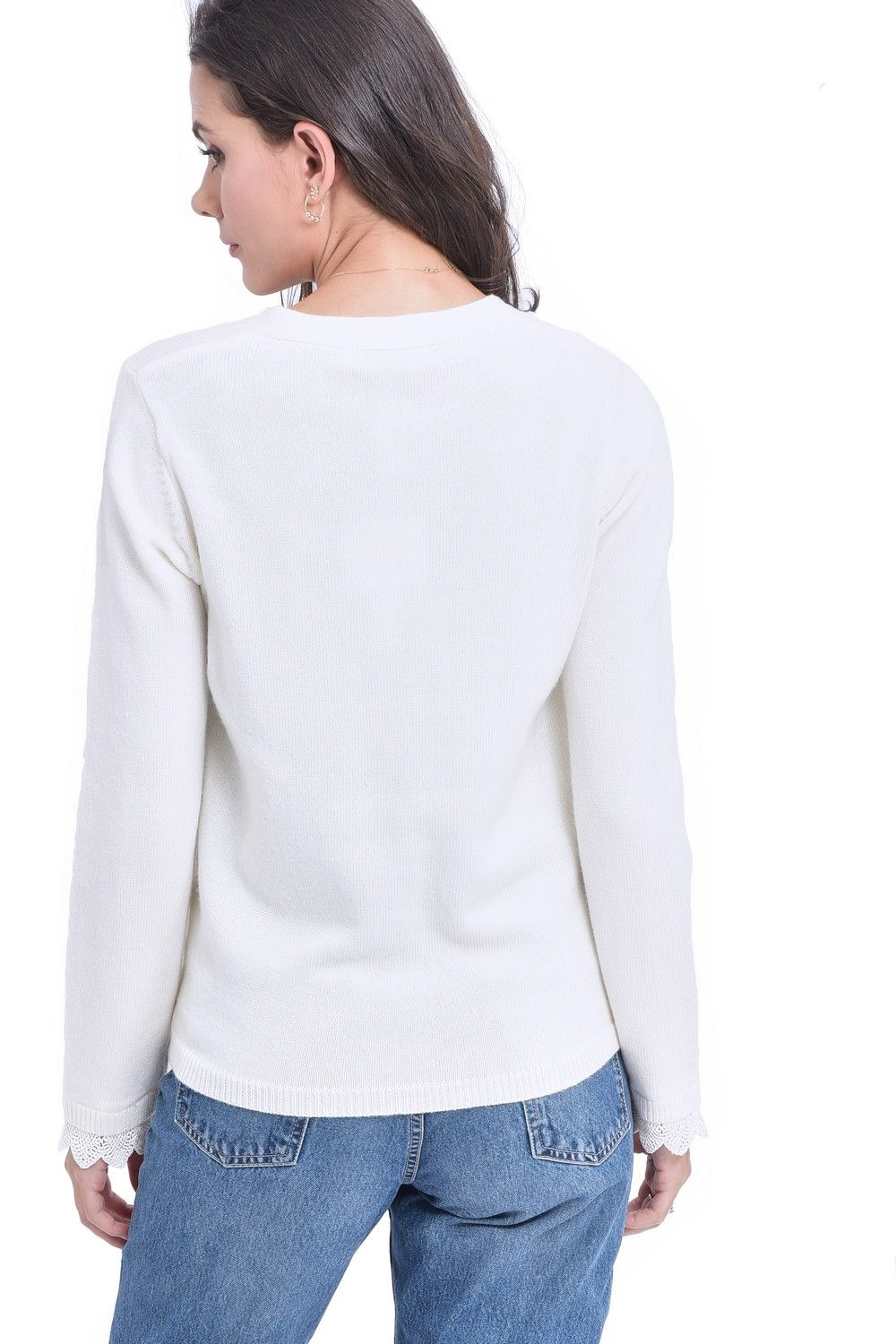 William De Faye V-neck Cardigan with Lace Sleeve Detail in Natural