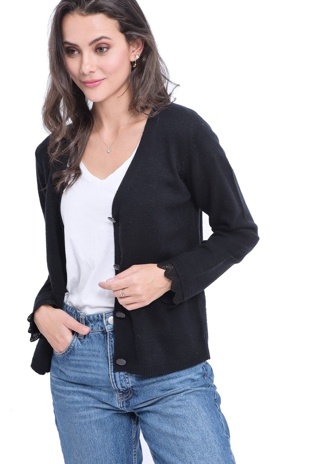 William De Faye V-neck Cardigan with Lace Sleeve Detail in Black