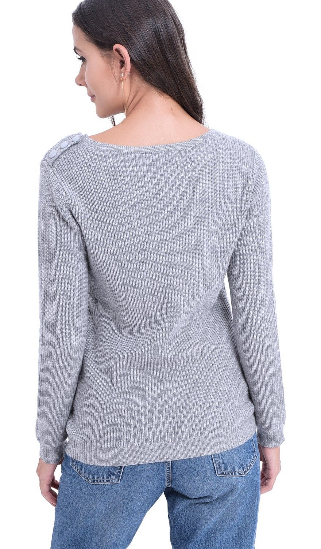 William De Faye V-neck Button Shoulder Sweater in Light Grey