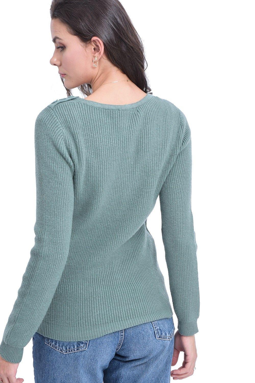 William De Faye V-neck Button Shoulder Sweater in Green