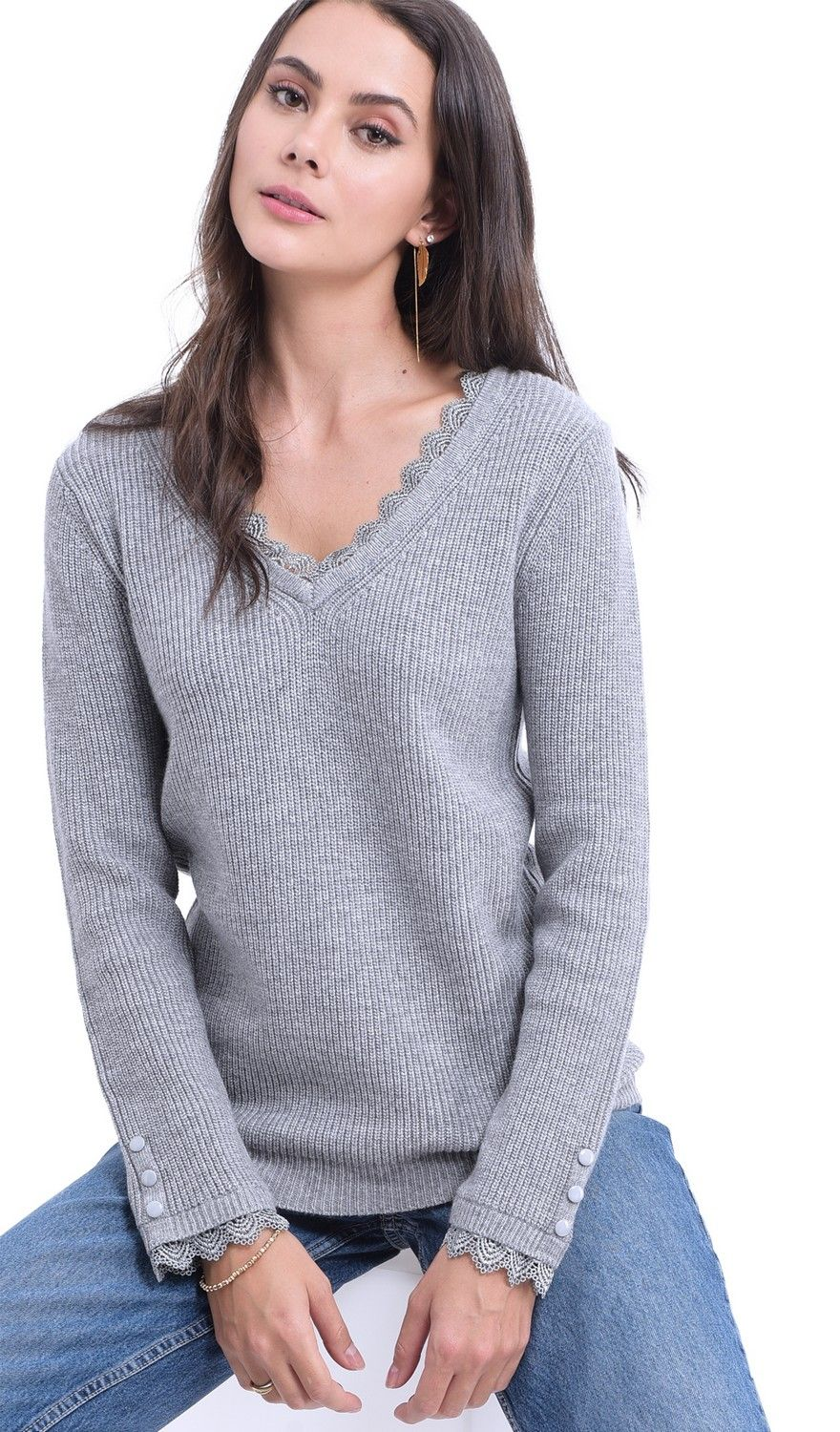 William De Faye V-neck Lace & Button Sleeve Sweater in Light Grey