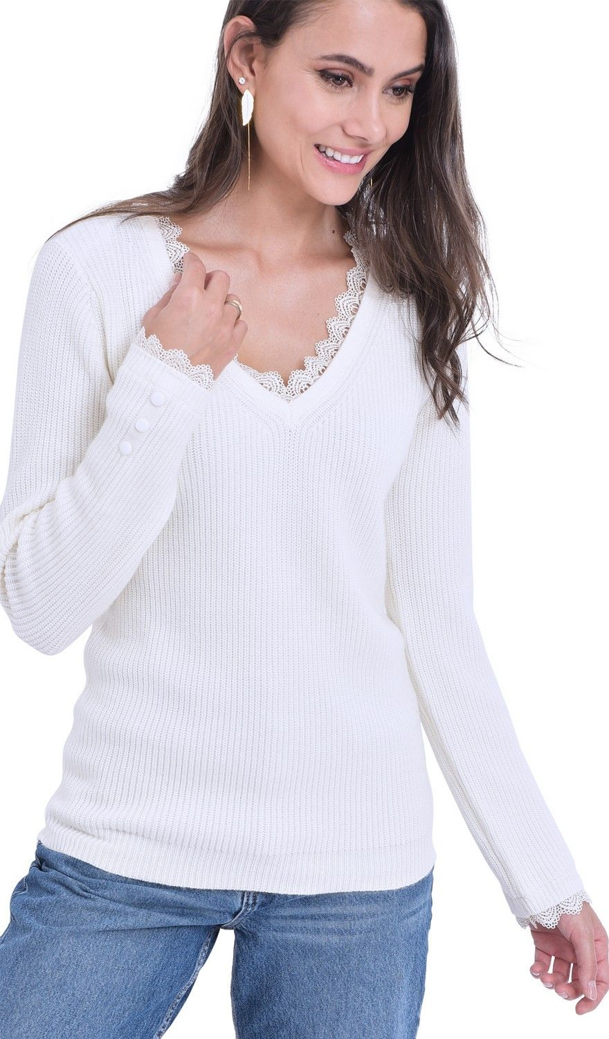 William De Faye V-neck Lace & Button Sleeve Sweater in Natural