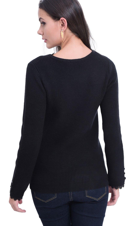 William De Faye V-neck Lace & Button Sleeve Sweater in Black