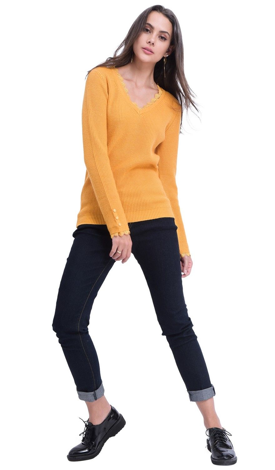 William De Faye V-neck Lace & Button Sleeve Sweater in Mustard