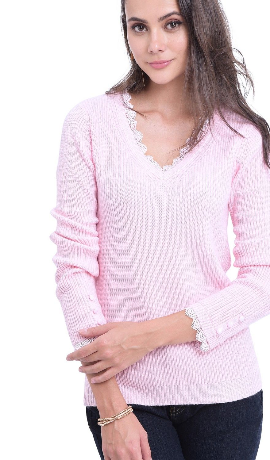 William De Faye V-neck Lace & Button Sleeve Sweater in Pink