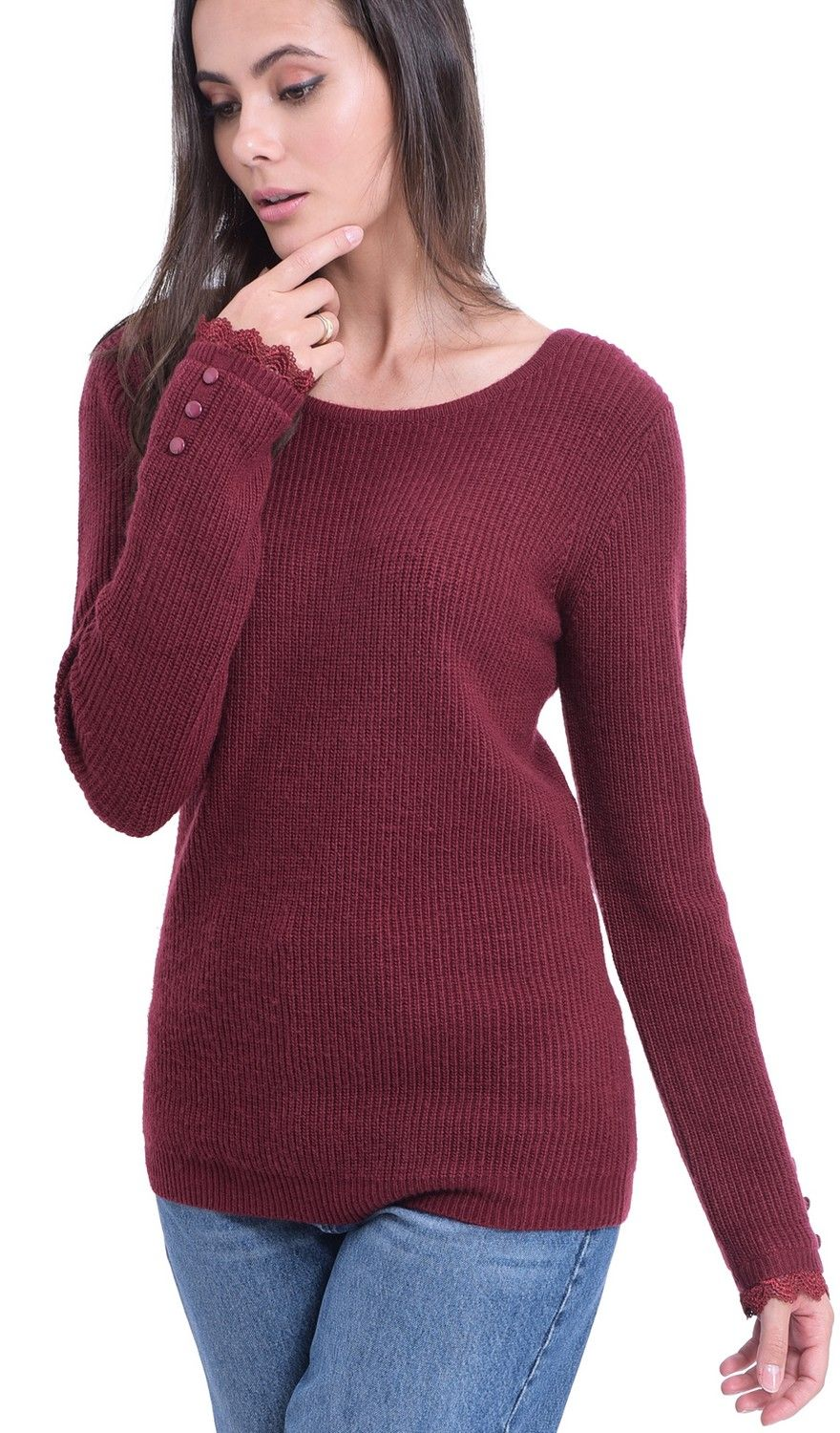 William De Faye Boat Neck V-Back Sweater with Lace Detail in Maroon