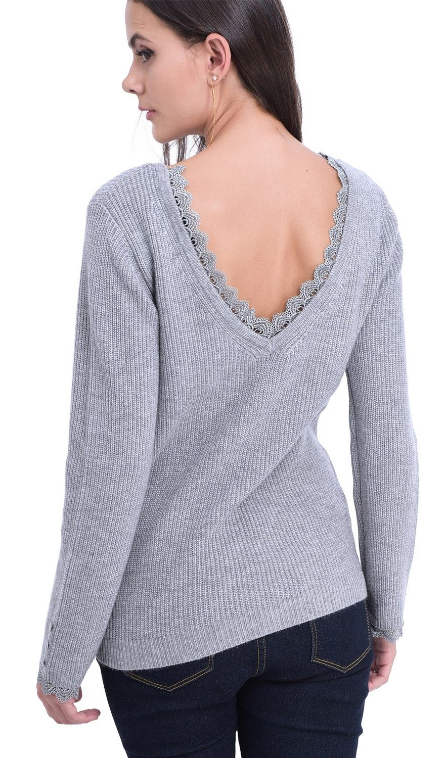 William De Faye Boat Neck V-Back Sweater with Lace Detail in Light Grey