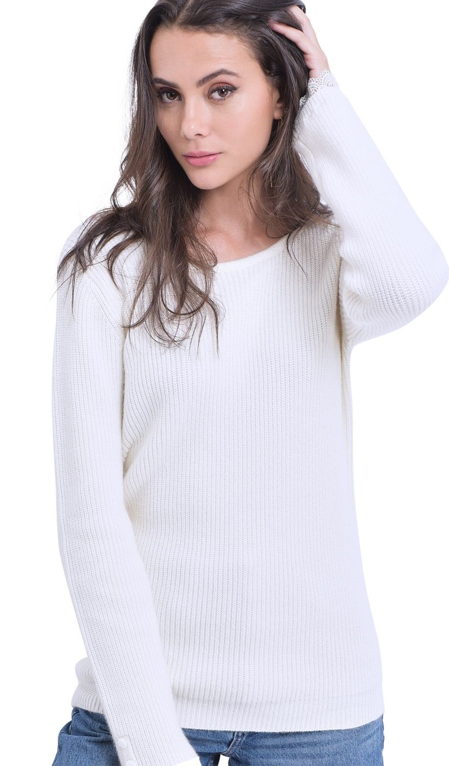 William De Faye Boat Neck V-Back Sweater with Lace Detail in Natural