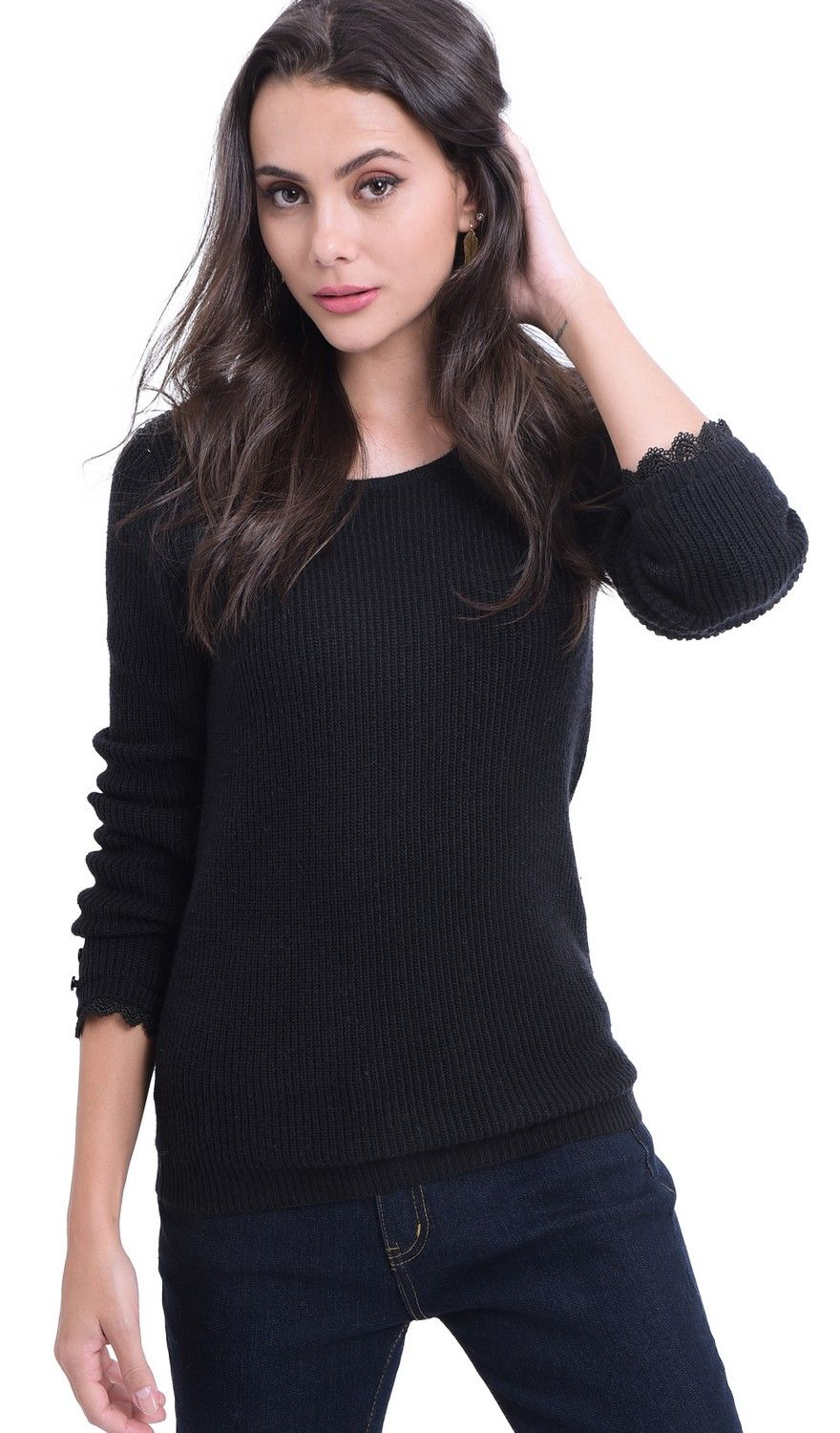 William De Faye Boat Neck V-Back Sweater with Lace Detail in Black