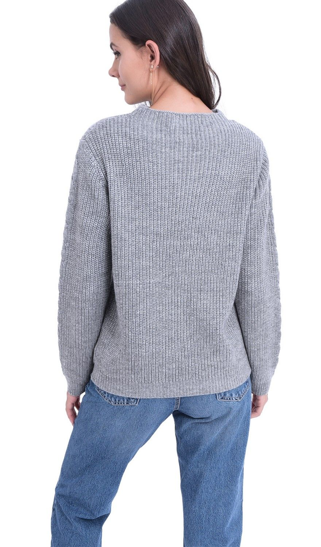 William De Faye Rollneck Twisted Yarn Sweater in Grey