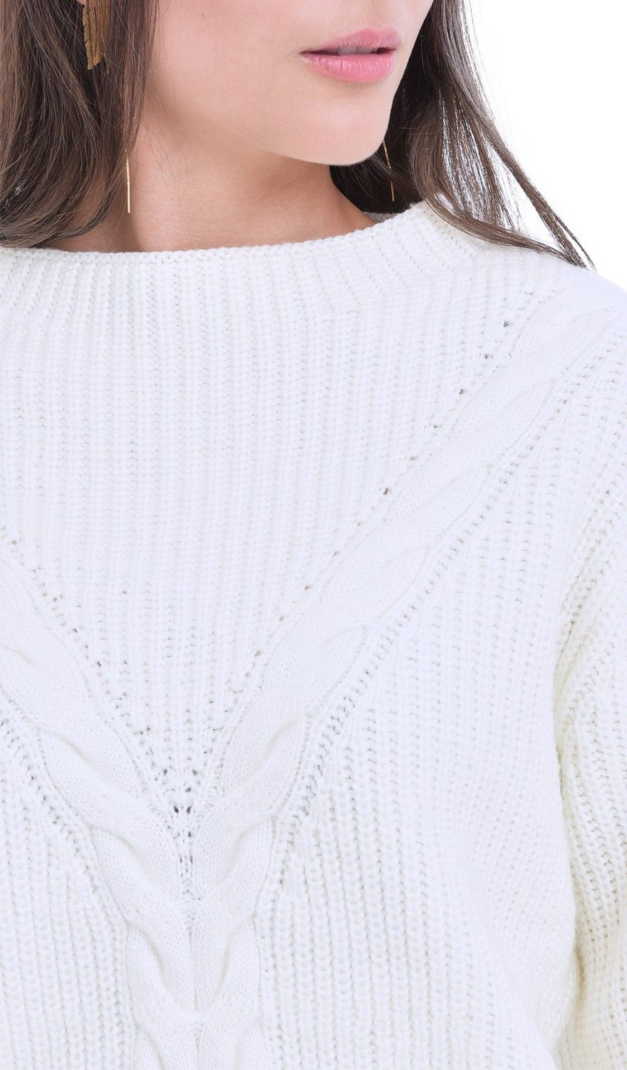 William De Faye Rollneck Twisted Yarn Sweater in Natural