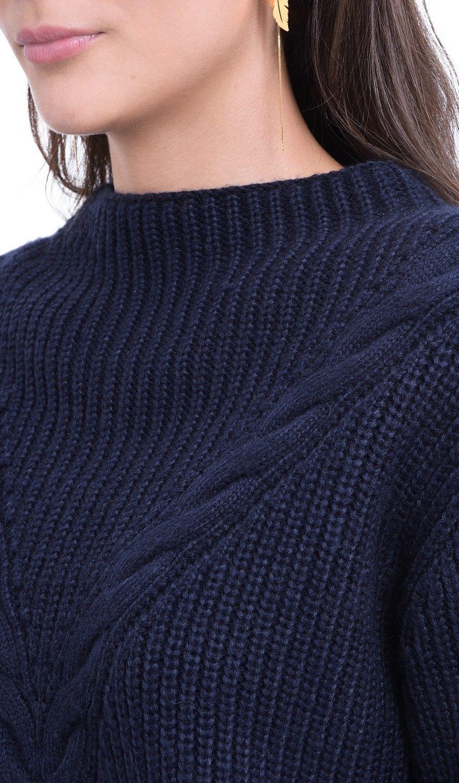 William De Faye Rollneck Twisted Yarn Sweater in Navy