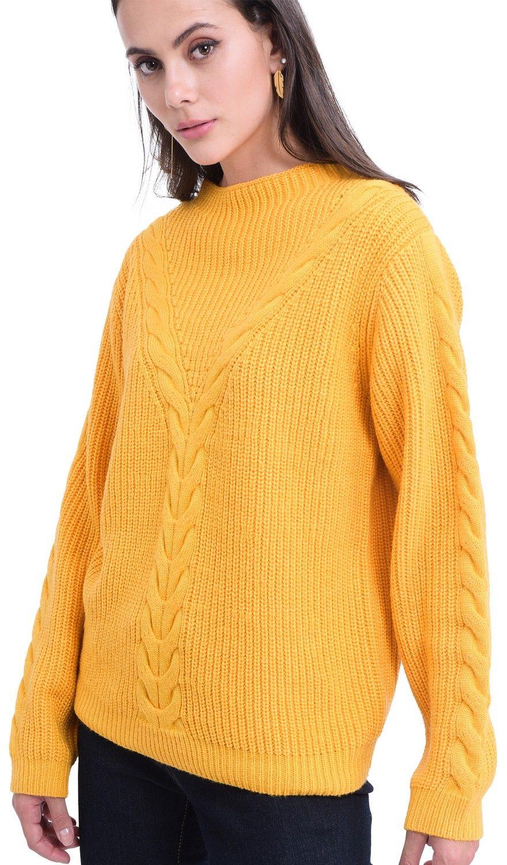 William De Faye Rollneck Twisted Yarn Sweater in Mustard