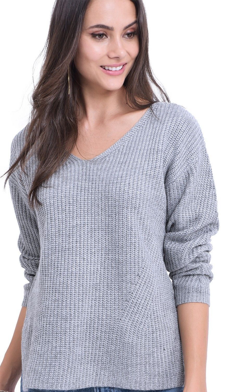 William De Faye V-neck Ribbed Sweater in Grey