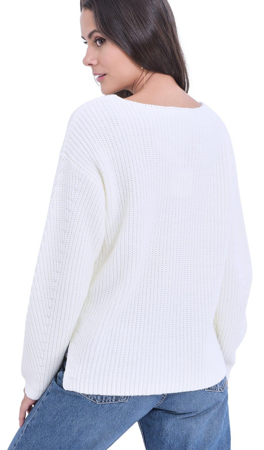 William De Faye V-neck Ribbed Sweater in Natural