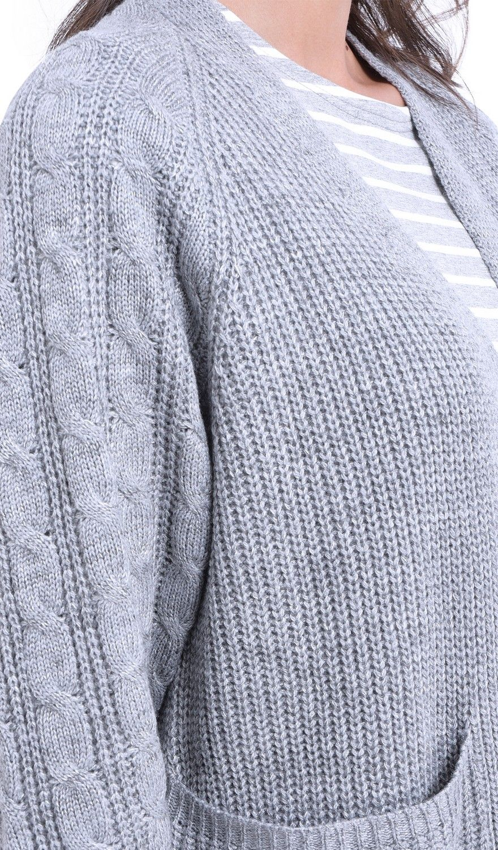 William De Faye Longline Twisted Yarn Cardigan in Grey