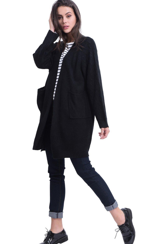 William De Faye Longline Twisted Yarn Cardigan in Black