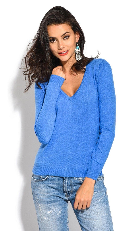 William De Faye V-Neck Long Sleeve Sweater in Blue