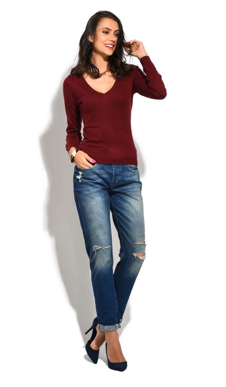William De Faye V-Neck Long Sleeve Sweater in Maroon