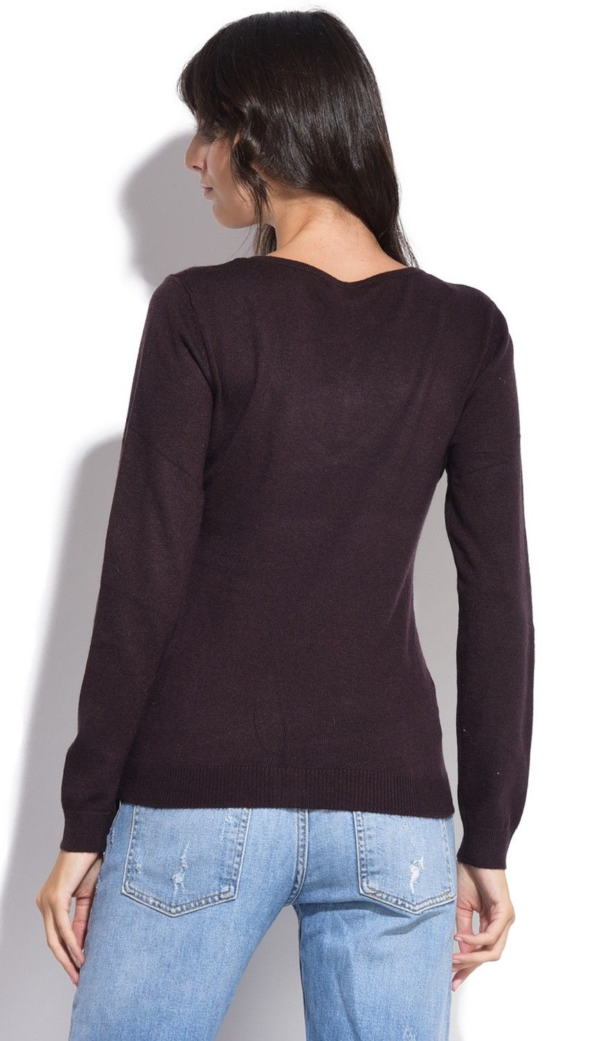 William De Faye V-Neck Long Sleeve Sweater in Brown