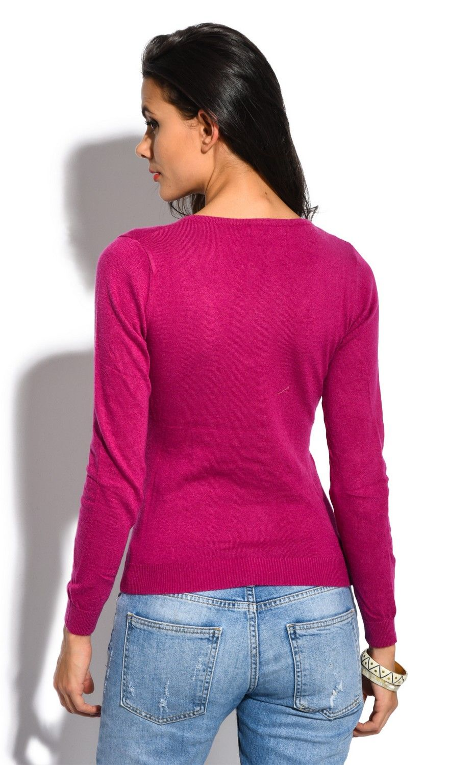 William De Faye V-Neck Long Sleeve Sweater in Fuschia