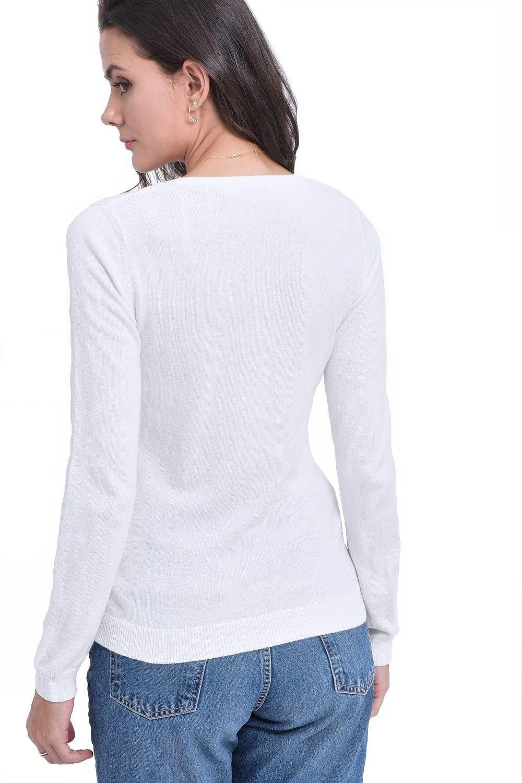 William De Faye V-Neck Long Sleeve Sweater in Ecru