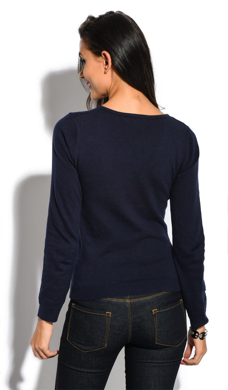 William De Faye V-Neck Long Sleeve Sweater in Navy