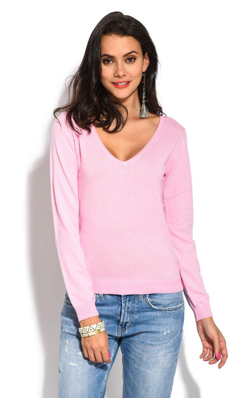 William De Faye V-Neck Long Sleeve Sweater in Pink
