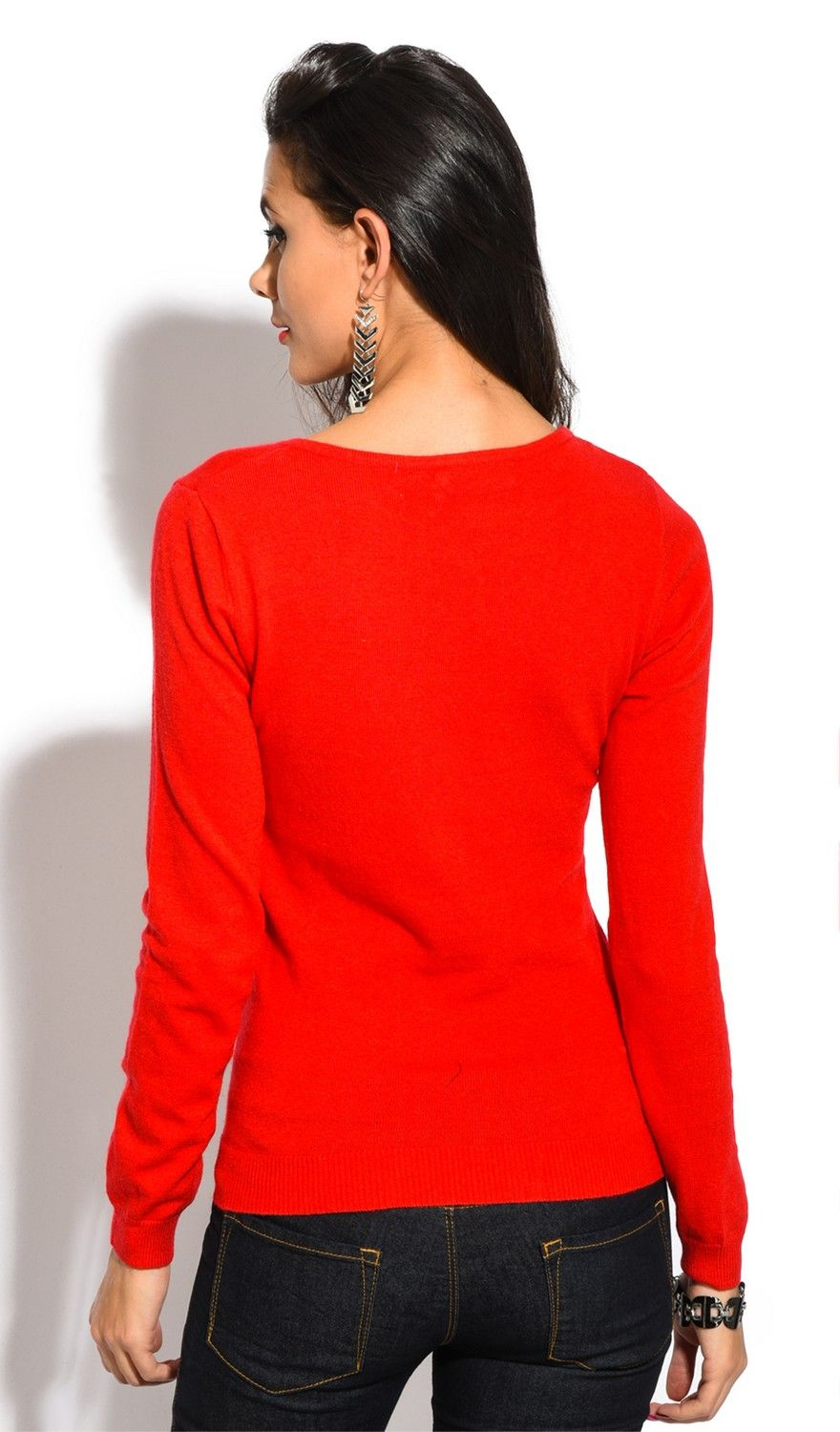 William De Faye V-Neck Long Sleeve Sweater in Red