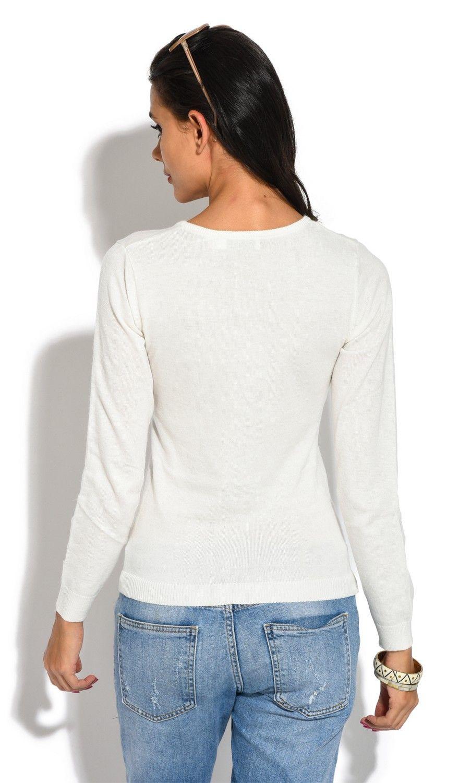 William De Faye Round Neck Long Sleeve Sweater in Ecru