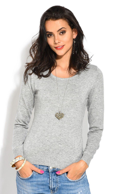 William De Faye Round Neck Long Sleeve Sweater in Grey