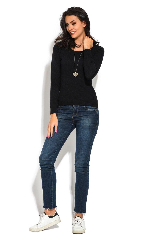 William De Faye Round Neck Long Sleeve Sweater in Black