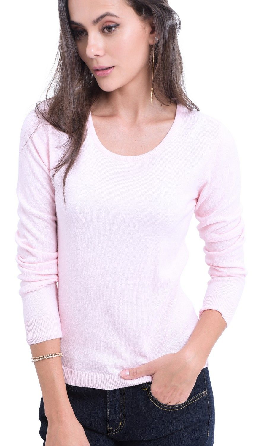 William De Faye Round Neck Long Sleeve Sweater in Pink