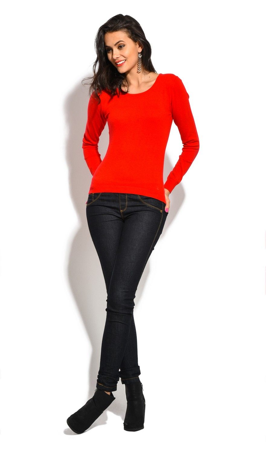 William De Faye Round Neck Long Sleeve Sweater in Red
