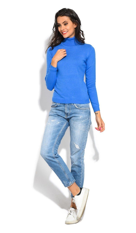 William De Faye Rollneck Long Sleeve Sweater in Blue
