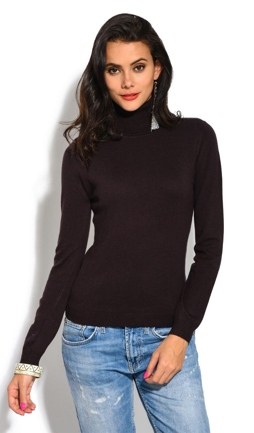 William De Faye Rollneck Long Sleeve Sweater in Brown