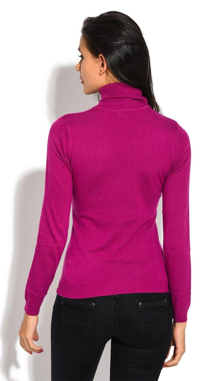William De Faye Rollneck Long Sleeve Sweater in Fuschia
