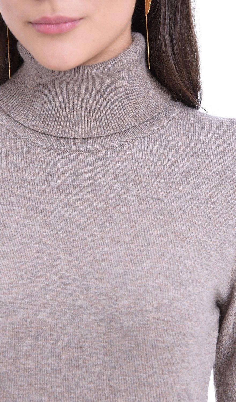 William De Faye Rollneck Long Sleeve Sweater in Beige
