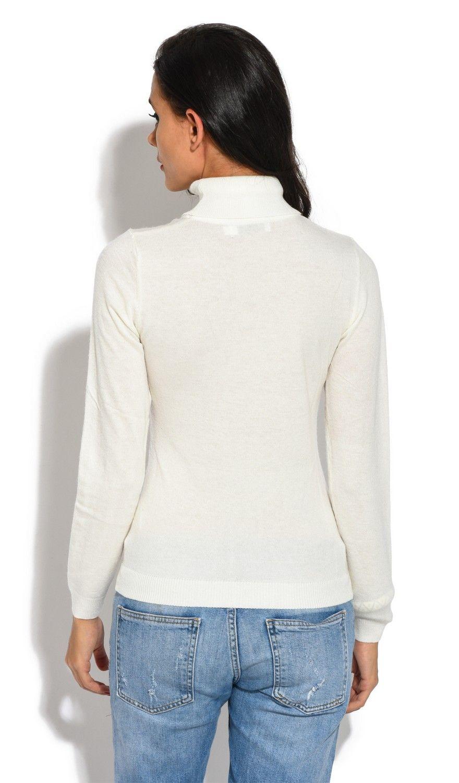 William De Faye Rollneck Long Sleeve Sweater in Ecru
