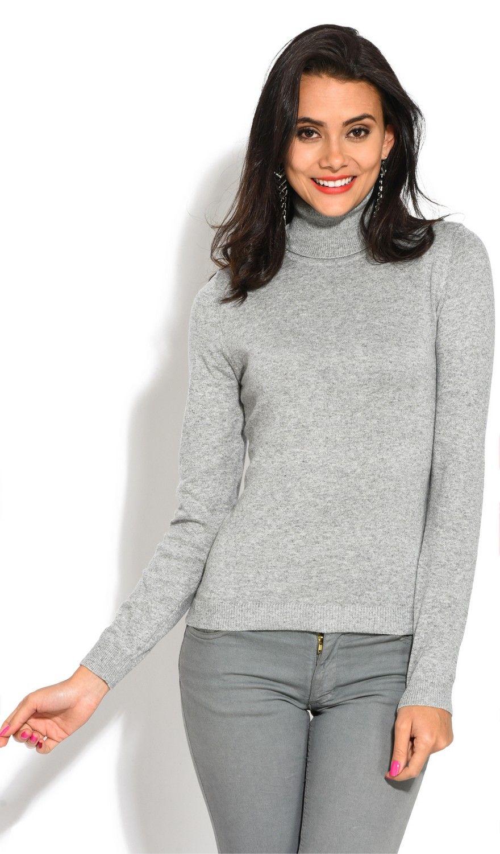 William De Faye Rollneck Long Sleeve Sweater in Grey