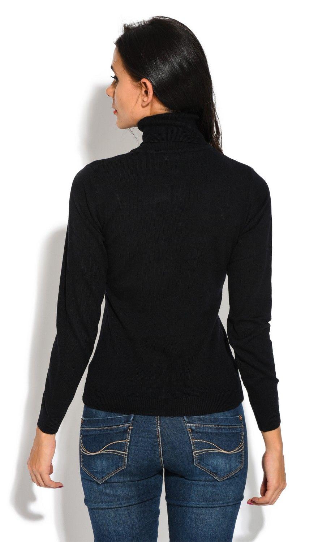 William De Faye Rollneck Long Sleeve Sweater in Black