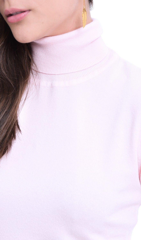 William De Faye Rollneck Long Sleeve Sweater in Pink