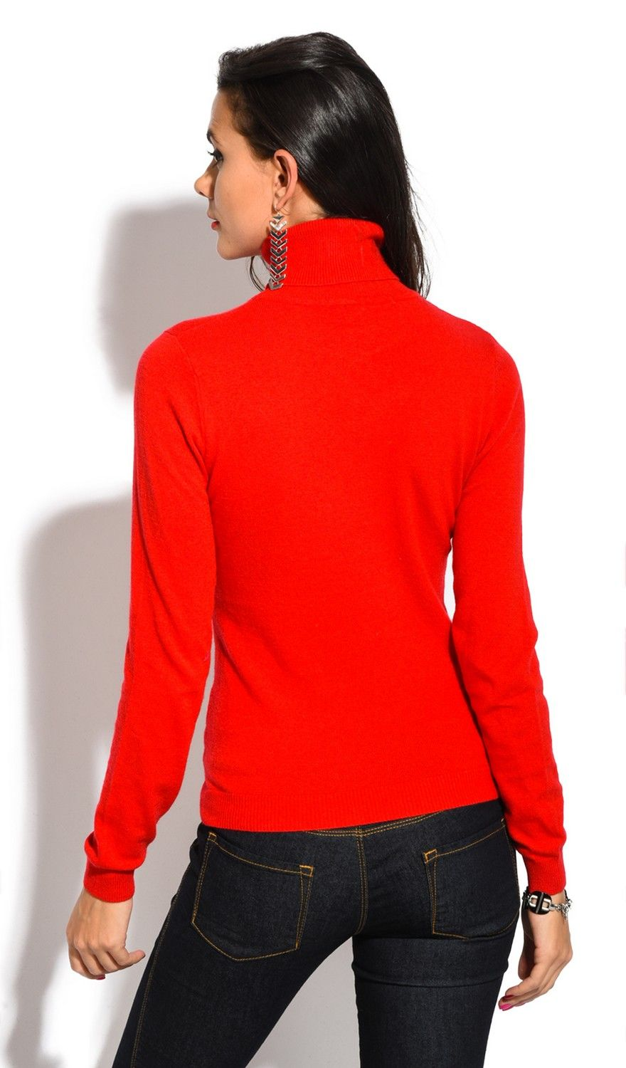 William De Faye Rollneck Long Sleeve Sweater in Red